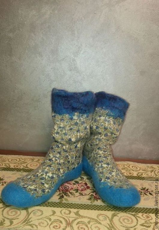 Носки, Чулки ручной работы. Ярмарка Мастеров - ручная работа. Купить Носочки валяные. Handmade. Тёмно-бирюзовый, домашняя обувь