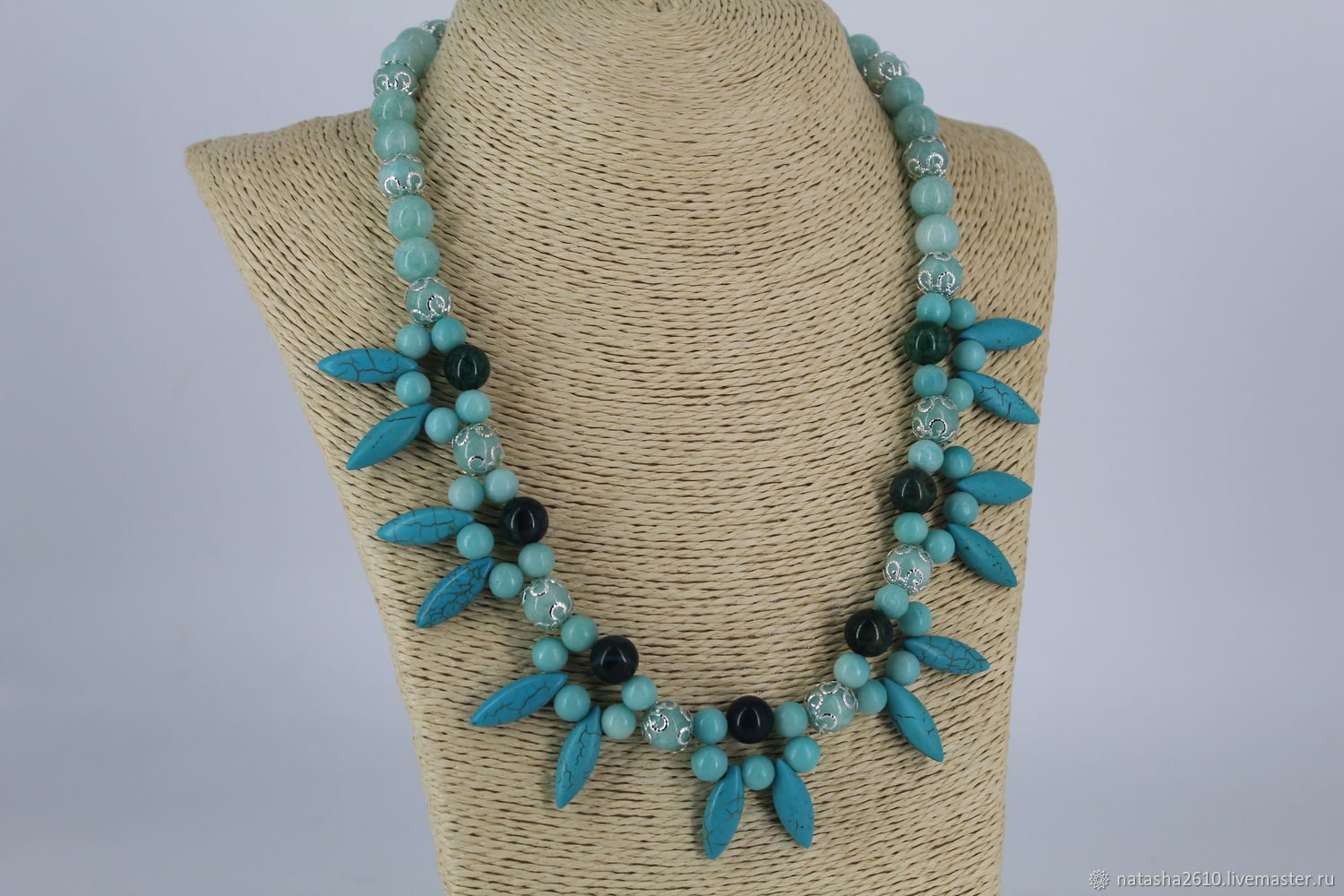 Necklace made of amazonite, agate and howlite stones ' Attraction', Necklace, Velikiy Novgorod,  Фото №1