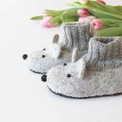 Работы для детей, handmade. Livemaster - original item Copy of felted slipper  socks for children mouse pink. Handmade.