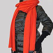 Шарфы ручной работы. Ярмарка Мастеров - ручная работа Кашемировый шарф-палантин вязаный красный апельсин. Handmade.