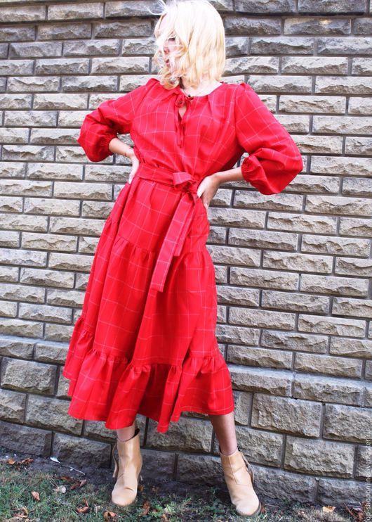 Платья ручной работы. Ярмарка Мастеров - ручная работа. Купить Скидки! Новая цена 8000р Красное шерсть платье. Handmade.