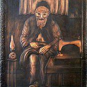 """Картины и панно ручной работы. Ярмарка Мастеров - ручная работа чеканка по меди """"Старый портной"""". Handmade."""