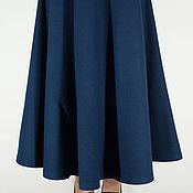 Одежда ручной работы. Ярмарка Мастеров - ручная работа Синяя юбка полусолнце из шерстяного сукна в пол. Handmade.