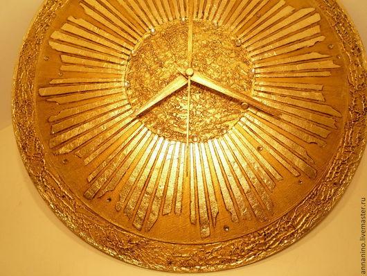 Часы для дома ручной работы. Ярмарка Мастеров - ручная работа. Купить Часы Старинная бронза Солнце. Handmade. Золотой