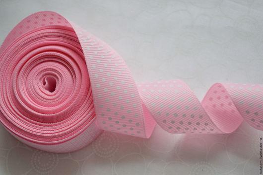 Шитье ручной работы. Ярмарка Мастеров - ручная работа. Купить Лента репсовая, розовая в белый горошек, 25 мм. Handmade.