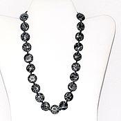 Украшения handmade. Livemaster - original item Beads from natural snow obsidian (m). Handmade.