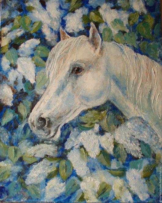 """Животные ручной работы. Ярмарка Мастеров - ручная работа. Купить """"Вечер белой сирени"""". Handmade. Комбинированный, картина с лошадью"""