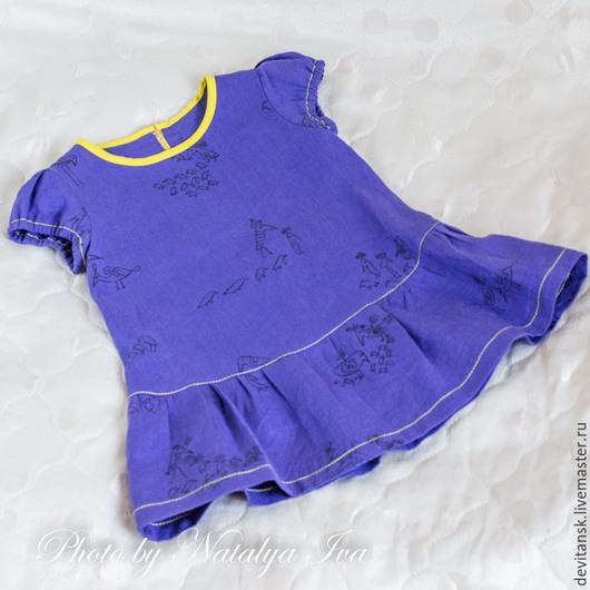"""Одежда для девочек, ручной работы. Ярмарка Мастеров - ручная работа. Купить Льняное платье для девочки """" Птички"""". Handmade. Фиолетовый"""