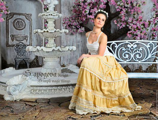 Алина Сапогова. Авторская юбка бохо ` Экрю ` длинная юбка с оборками, бежевая летняя юбка  с кружевом. Юбка в винтажном стиле.  Фотограф Александр Сапогов