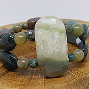Украшения handmade. Livemaster - original item Green Garden Bracelet (agate, chalcedony, quartz). Handmade.