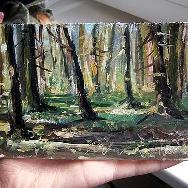 """Картины и панно ручной работы. Ярмарка Мастеров - ручная работа Авторский этюд с натуры """"Блики в лесу"""". Handmade."""