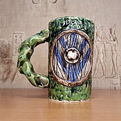 Посуда handmade. Livemaster - original item Vikings - green ceramic carved mug with shield and runes. Handmade.