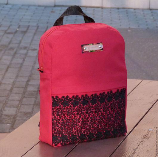 """Рюкзаки ручной работы. Ярмарка Мастеров - ручная работа. Купить Рюкзак """" classic"""" с кружевом красный. Handmade. Ярко-красный"""