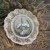Украшения handmade. Livemaster - original item Yarrow Linen brooch with hand painted. Handmade.