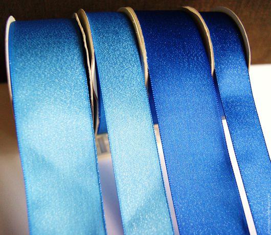 лента `Искрящаяся` синяя, голубая 38 и 25 мм