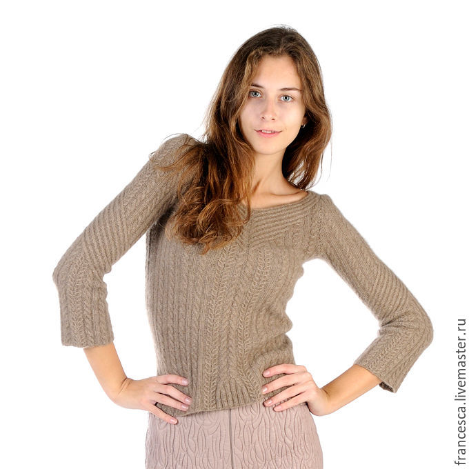 Knitted Woman Sweater Beige Cashmere V-neck Pullover Classic ...