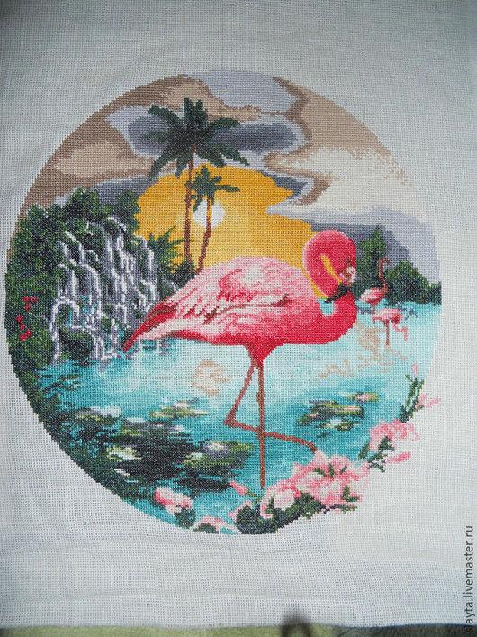 Животные ручной работы. Ярмарка Мастеров - ручная работа. Купить Розовый фламинго. Handmade. Комбинированный, пейзаж, цапля, картина в подарок
