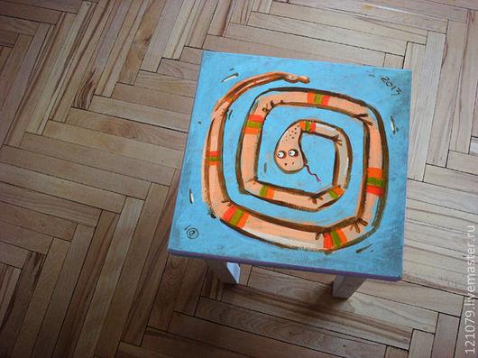 Мебель ручной работы. Ярмарка Мастеров - ручная работа. Купить Табурет Змей. Handmade. Голубой, подарок, новый год 2013