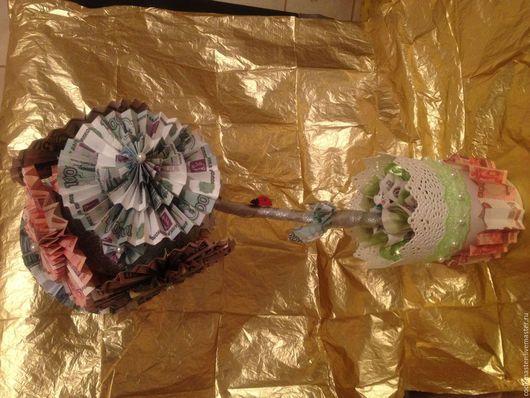 """Персональные подарки ручной работы. Ярмарка Мастеров - ручная работа. Купить Топиаиий """"Денежный"""". Handmade. Денежное дерево, конфеты"""