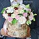 Интерьерные композиции ручной работы. Ярмарка Мастеров - ручная работа. Купить Цветы в шляпной коробке 29 см (полимерная глина). Handmade.