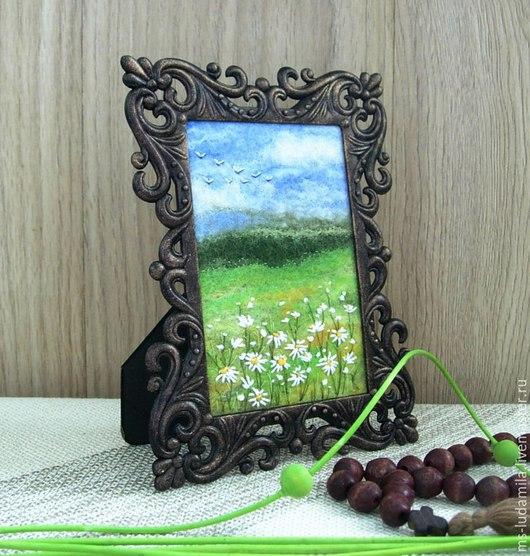 """Пейзаж ручной работы. Ярмарка Мастеров - ручная работа. Купить Картина из шерсти """"Ромашковые поля"""" пейзаж-миниатюра. Handmade."""