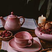 Посуда handmade. Livemaster - original item Set of tableware: 200 ml mug, saucer, teapot, dessert plate. Handmade.
