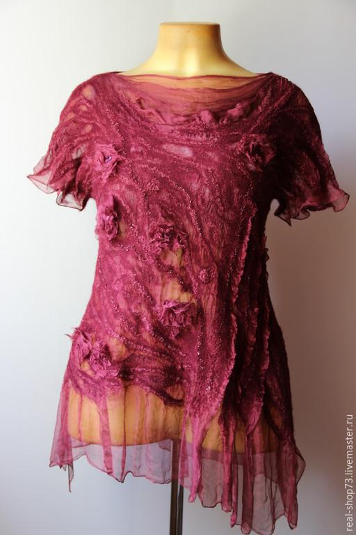 Блузки ручной работы. Ярмарка Мастеров - ручная работа. Купить Авторская блузка Бохиня. Handmade. Цветочный, бордовый, туника валяная