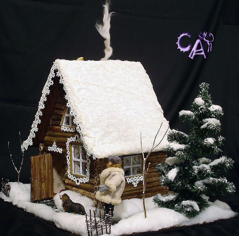 Поделка к новому году домик из картона