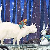 Картины ручной работы. Ярмарка Мастеров - ручная работа Девочка и Белая кошка. Новый год . авторский принт или постер.. Handmade.