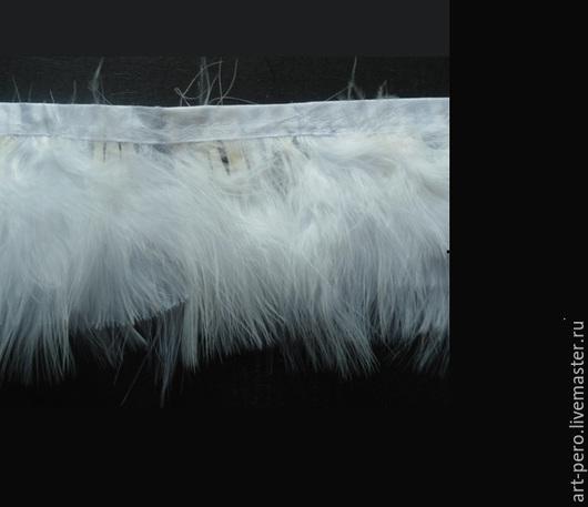 Другие виды рукоделия ручной работы. Ярмарка Мастеров - ручная работа. Купить Тесьма  из перьев индейки h-9 см.(перья на ленте),  белый (10 см). Handmade.