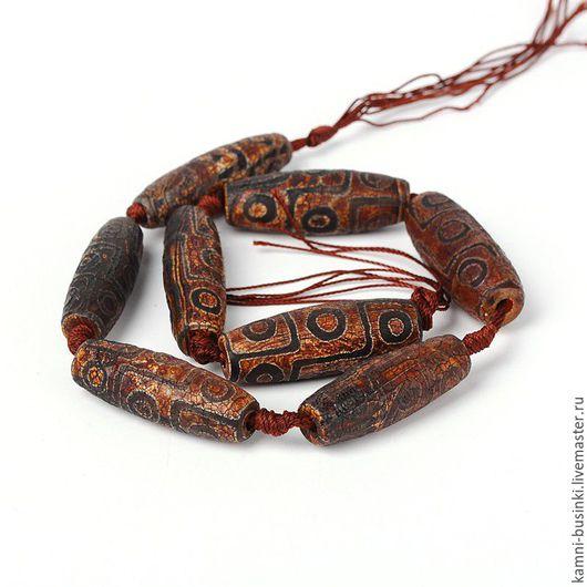 Тибетский Агат Дзи 9 глаз 40 мм бусина челнок фактурный. Бусины агата дзи для колье, агат Дзе бусины для браслетов, агат дзи бусина для серег.