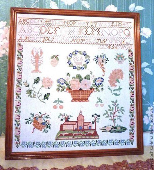 """Картины цветов ручной работы. Ярмарка Мастеров - ручная работа. Купить Вышитое панно """"Алфавит"""". Handmade. Белый, панно"""