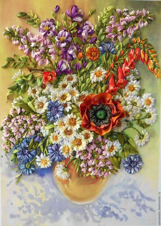 """Картины цветов ручной работы. Ярмарка Мастеров - ручная работа. Купить """" Полевые цветы"""". Handmade. Комбинированный, картина для интерьера"""