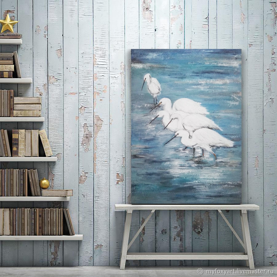 Herons, painting with birds, landscape, Pictures, St. Petersburg,  Фото №1