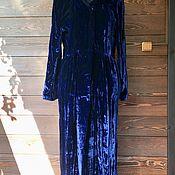 handmade. Livemaster - original item Velvet coat raincoat 46-48 p handmade with hood. Handmade.
