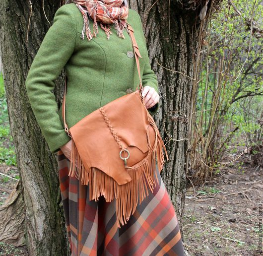 Женские сумки ручной работы. Ярмарка Мастеров - ручная работа. Купить Сумка с бахромой в стиле этно-бохо, в рыжем. Handmade.