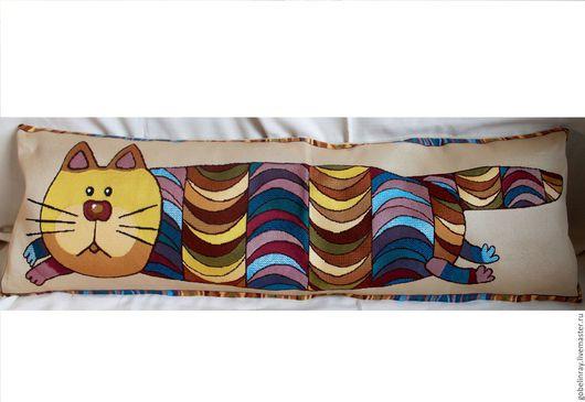 Детская ручной работы. Ярмарка Мастеров - ручная работа. Купить КОТ-БАЮН: чехол гобеленовый на подушку-валик, 32-95 см. Handmade.