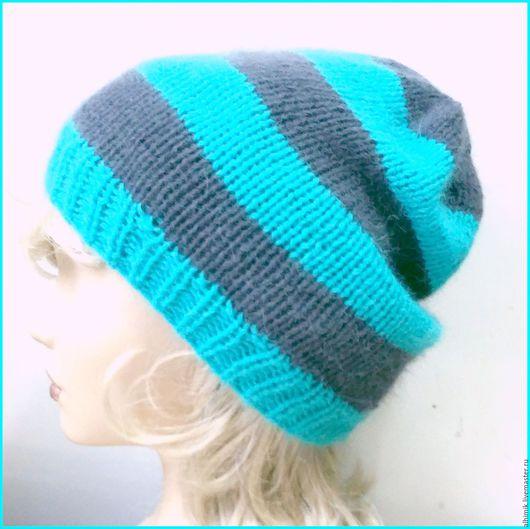 Шапки ручной работы. Ярмарка Мастеров - ручная работа. Купить Шапка вязаная бини из ангоры. Полосатая шапка. Модная шапка. Handmade.