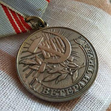 Винтаж ручной работы. Ярмарка Мастеров - ручная работа Медаль Ветеран труда. Handmade.