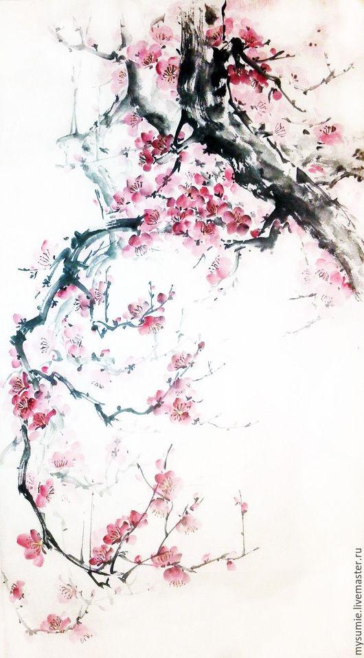 Картины цветов ручной работы. Ярмарка Мастеров - ручная работа. Купить Дыхание весны. Handmade. Комбинированный, цветы, розовый, тушь