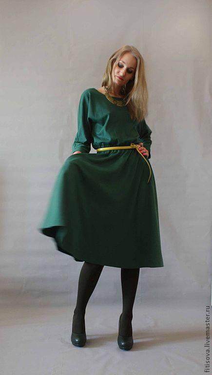 Платья ручной работы. Ярмарка Мастеров - ручная работа. Купить Ромонтика 10. Handmade. Тёмно-зелёный, трикотажное платье