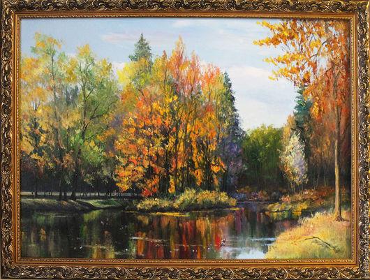 Пейзаж ручной работы. Ярмарка Мастеров - ручная работа. Купить Осенний парк. Handmade. Пейзаж маслом, золотая осень