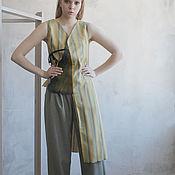 Одежда handmade. Livemaster - original item Asymmetric long blouse vest in elegant stripes. Handmade.