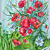 Картины и панно ручной работы. Ярмарка Мастеров - ручная работа Маки на окне. Handmade.
