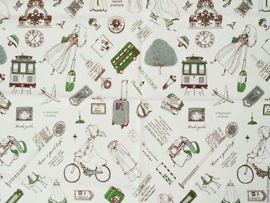 Шитье ручной работы. Ярмарка Мастеров - ручная работа. Купить Ткань льняная Алиса в стране чудес. Handmade. Бежевый