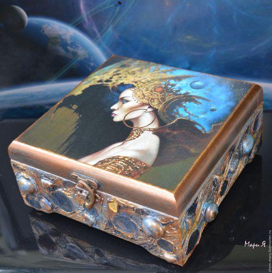 подарок девушке, подарок жене, дизайнерская шкатулка, стильная шкатулка, космическая, фэнтези, звезда, Футуризм, космический дизайн, космический стиль