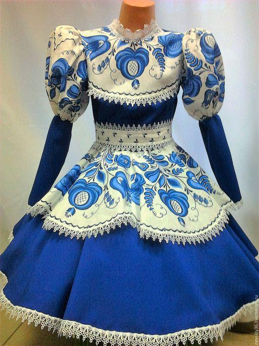 Детские танцевальные костюмы ручной работы. Ярмарка Мастеров - ручная работа. Купить Платье Гжель G2. Handmade. Тёмно-синий