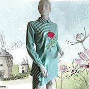 Одежда ручной работы. Ярмарка Мастеров - ручная работа Платье- рубашка с вышивкой DG. Handmade.