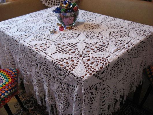 Текстиль, ковры ручной работы. Ярмарка Мастеров - ручная работа. Купить скатерть вязанная крючком ажурная белая 100%хлопок. Handmade.