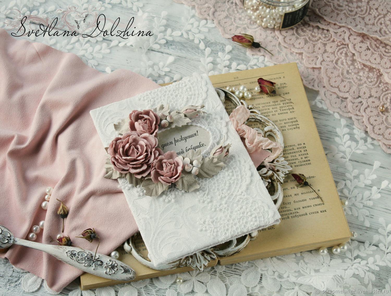 Handmade postcard white pink, Cards, Tyumen,  Фото №1